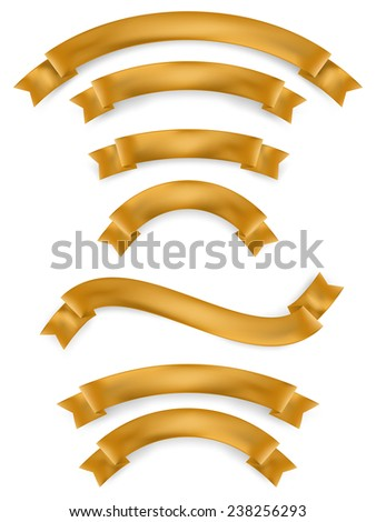 Set of gold ribbons. EPS 10 vector file included - stock vector