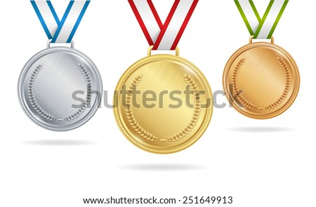 Set of gold, silver and bronze medals on white background - stock vector