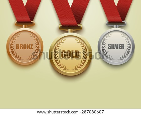 Set of gold, silver and bronze medals.vector - stock vector