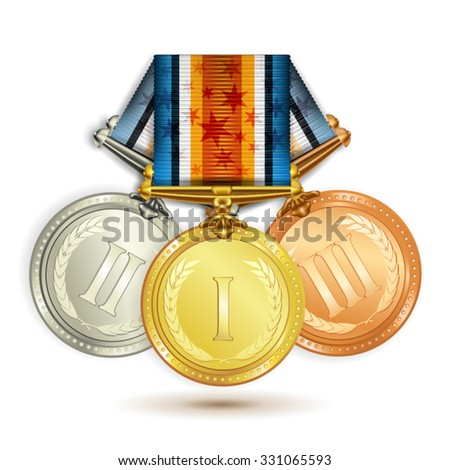 Set of gold, silver and bronze medals with ribbon over white background - stock vector
