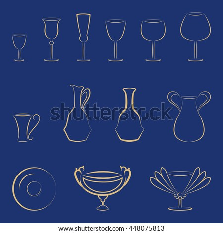Set of gold tableware and glasses on a blue background. Vector elements for corporate identity or logo template. - stock vector