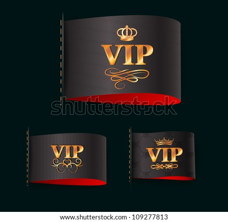 Set of gold vip labels - stock vector