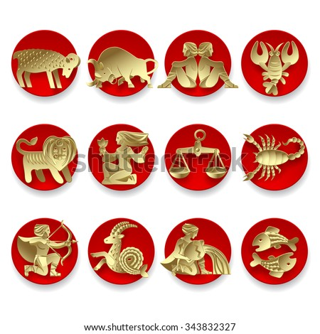 Set of gold zodiacal signs with figure on red circles. Original design. Vector illustration - stock vector