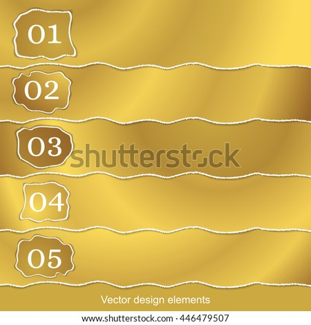 Set of Golden banners with the Effect of torn paper. Design for the web interface, notebooks, infographics, magazines, postcards, covers for books. Vector illustration. - stock vector