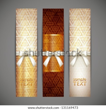 set of golden banners with white bows and ribbons - stock vector