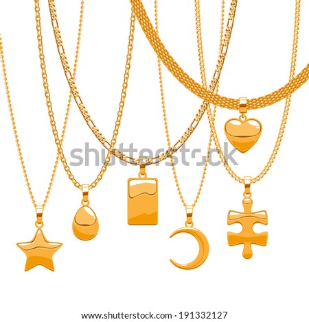Set of golden chains with different pendants. Precious necklaces. Star, drop, heart,brick, half moon and puzzle piece. Include chains brushes. - stock vector