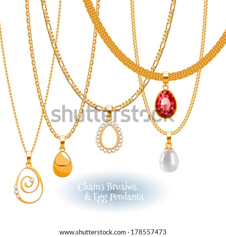 Set of golden chains with egg form pendants. Precious necklaces. Include chains brushes. - stock vector