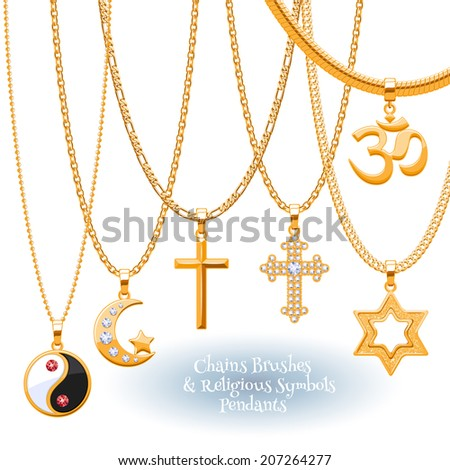 Set of golden chains with religious symbols pendants. Precious necklaces. Include chains brushes. - stock vector