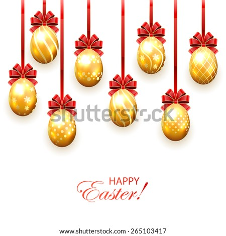 Set of golden Easter eggs with decorative patterns and bow isolated on white background, illustration. - stock vector
