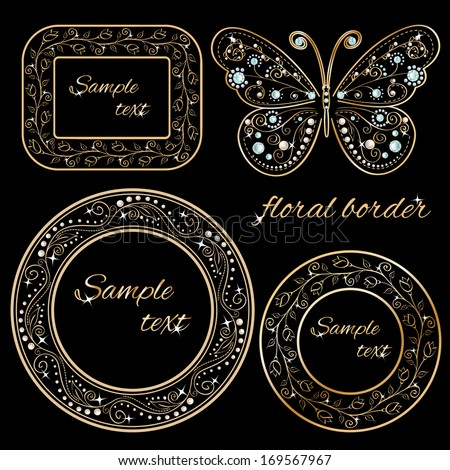 set of golden floral borders frame with glamour vintage butterfly with elegance ornament encrusted blue jewels isolated on black background. with sample text. Vector illustration  - stock vector