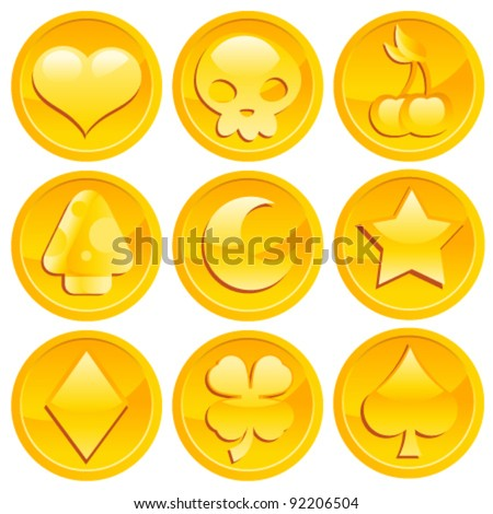 Set of Golden Game Coins - stock vector