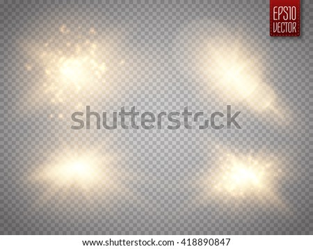 Set of golden glowing lights effects isolated on transparent background. Sun flash with rays and spotlight. Glow light effect. Star burst with sparkles. - stock vector