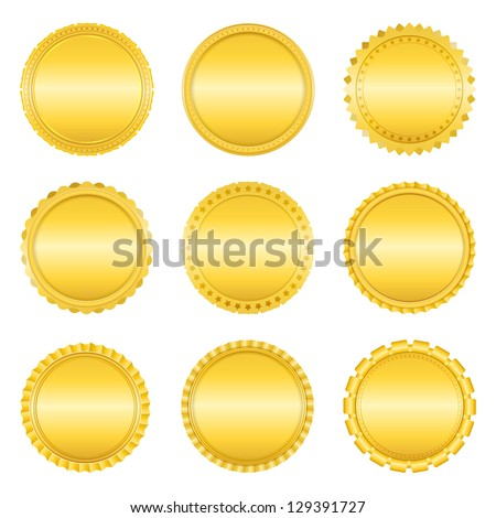 Set of golden labels on white background, vector eps10 illustration - stock vector
