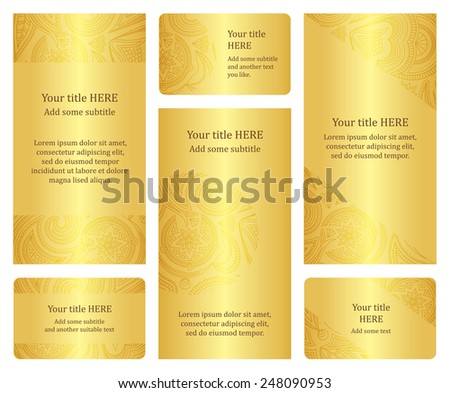 Set of golden leaflet and business card templates. - stock vector