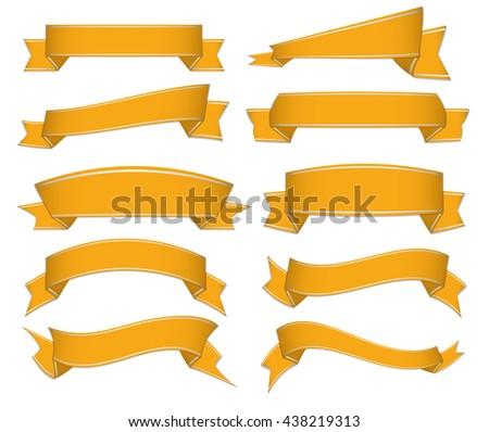 set of golden ribbons - stock vector