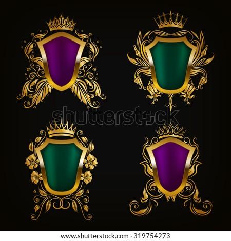 Set of golden royal shields for graphic design on black background. Old graceful frame,  border, crown, floral elements in vintage style for icon, label, emblem, badge, logo. Vector illustration EPS10 - stock vector