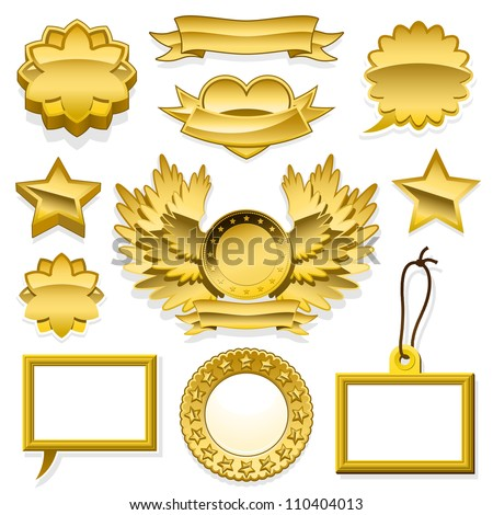 Set of golden speech bubbles labels tags - stock vector