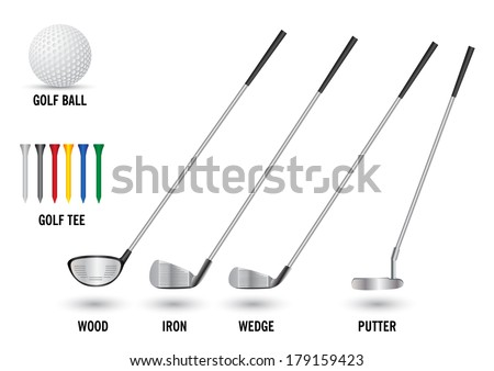 set of golf clubs tee and ball isolate on white background vector illustration - stock vector