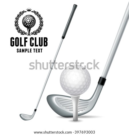 Set of Golf Equipments. White Golf Ball on White Tee and Golf Clubs. Realistic Vector Illustration. Isolated on White Background. - stock vector