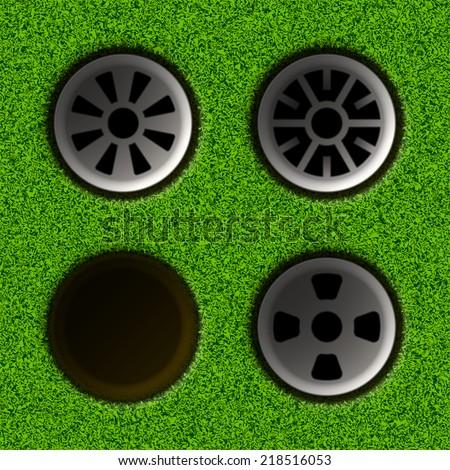 Set of golf holes. Vector illustration. - stock vector