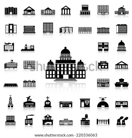 Set of Government Building black icons and silhouettes - stock vector