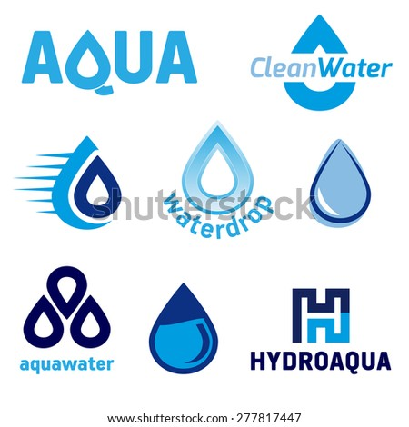 Set of graphic elements with the WATER theme - vector illustration - stock vector
