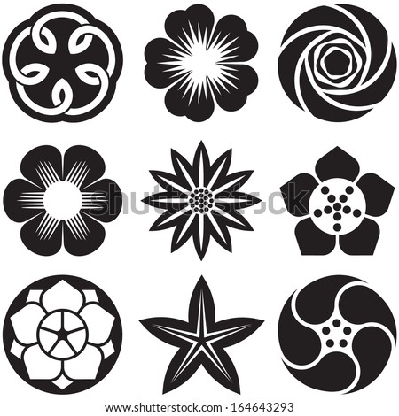 Set of Graphic Flowers - stock vector