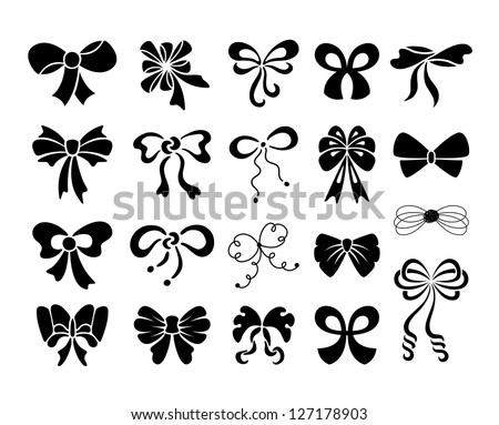 Set of graphical decorative bows - stock vector