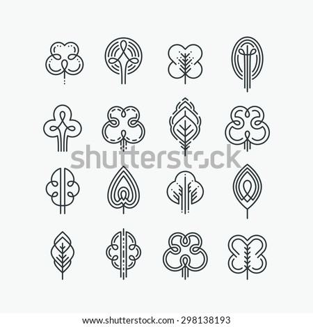 Set of graphical line trees and leaves, mono line design collection of nature signs, logos and symbols.  - stock vector