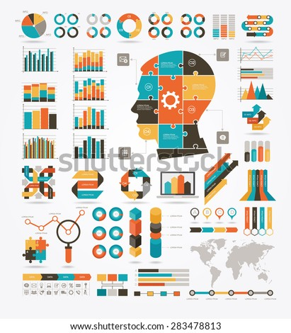 Set of graphs, charts and diagrams. Puzzles in the shape of a human head. World Map and Information Graphics. Detail infographic vector illustration. File is saved in AI10 EPS version. - stock vector