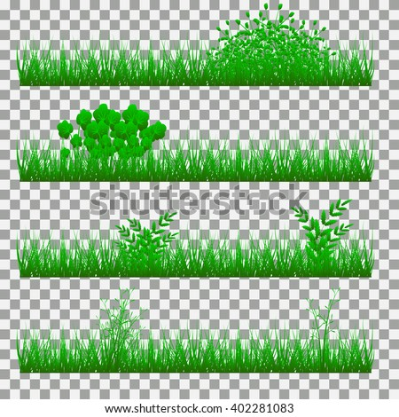 Set of grass on a transparent background.  - stock vector