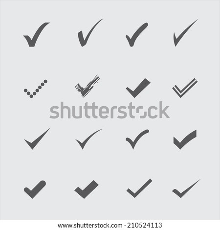 Set of gray confirm icons in vector - stock vector