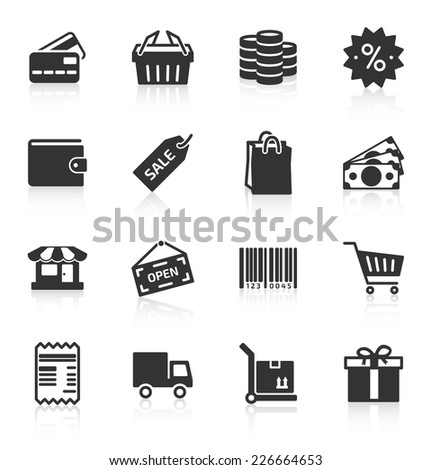 Set of gray shopping icons on white background. Vector illustration - stock vector