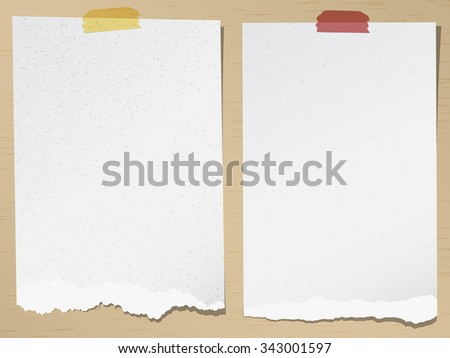 Set of gray torn grainy note papers with adhesive tape on brown background - stock vector