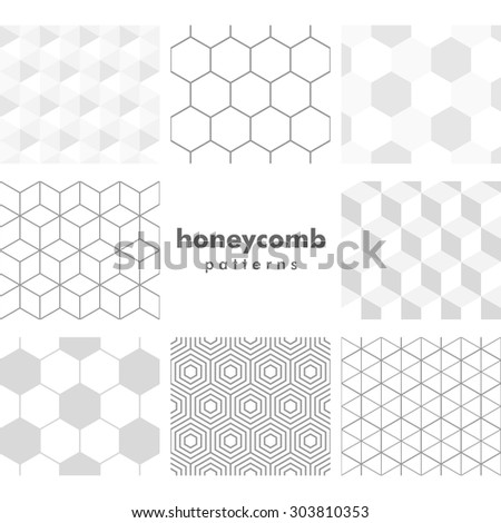 Set of grayscale honeycomb patterns - stock vector