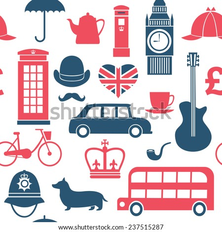 set of great britain symbols seamless pattern - stock vector