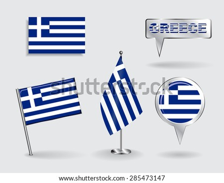 Set of Greek pin, icon and map pointer flags. Vector illustration. - stock vector