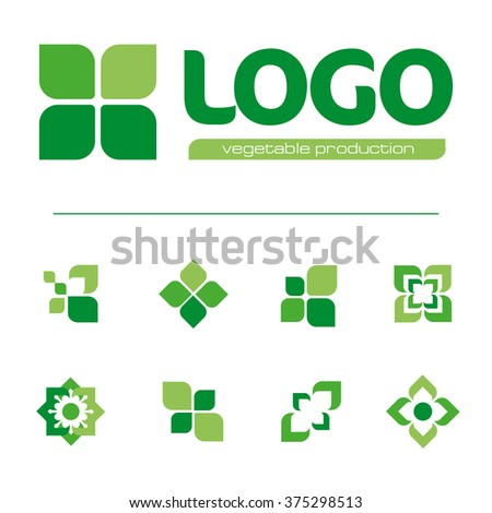 Set of green abstract vector logos. Natural signs. Healthy emblems. Leaves icons. Ornamental images. Graphic art. Medical logotypes. Organic labels. Plant elements. Outdoor elements. Park symbols. - stock vector