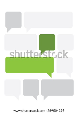 Set of green and gray text boxes in flat design. - stock vector