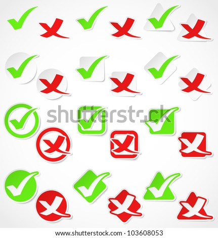 Set of green and red check marks stickers. Vector illustration - stock vector