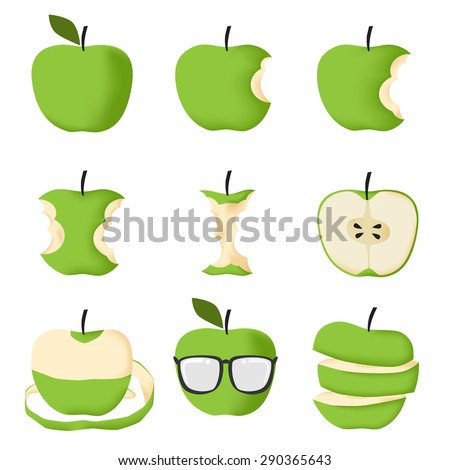 Set of Green apple isolated on white background vector illustration - stock vector