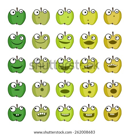 Set of green apples emoticons - stock vector