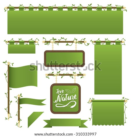 set of green banners, flags and ribbons with foliage decoration, isolated on white - stock vector