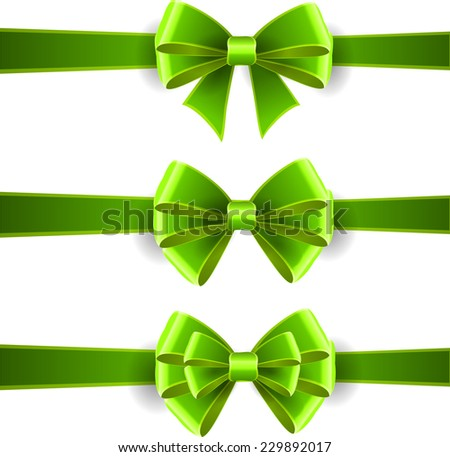 Set of green bows isolated on white - stock vector