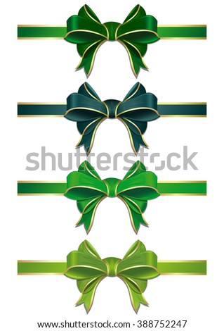 Set of green bows isolated on white. Vector scalable green ribbons with bows. Green ribbons in different shades isolated on white background. Green ribbons with bows to St. Patrick's day or Easter. - stock vector