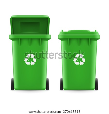 Set of green buckets for trash with sign arrow - stock vector