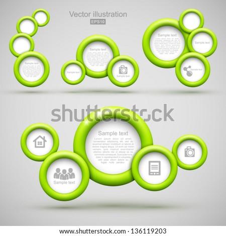 Set of green circle banner. - stock vector