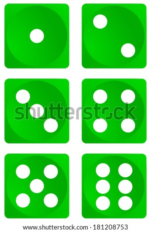 Set of green dice, all numbers, dice games, vector art image illustration, eps10, isolated on white background - stock vector