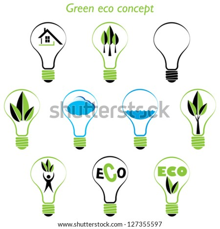 Set of green eco concept, element inside the light bulb - stock vector