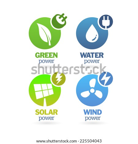 Set of green - eco - renewable icons on the white background. - stock vector